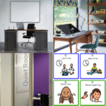 Set of 4 images - 3 showing different types of office space and 4th image is visual cues board for autism