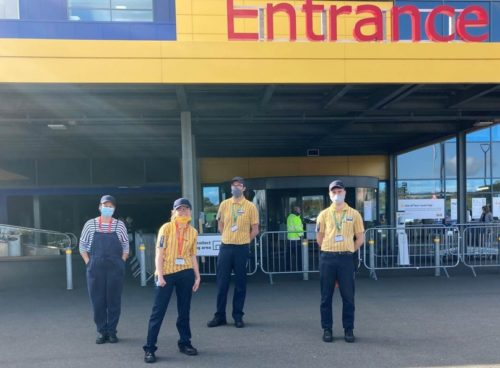 4 people standing in front of the IKEA Exeter store entrance