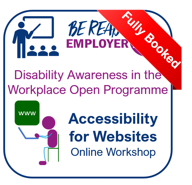Accessibility for Websites training workshop with 'Fully Booked' label