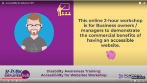 Example image from Be Ready's video promoting the Accessibility for Websites workshop