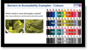 Example page of presentation from the Accessibility for Websites workshop with example of accessibility issues for colour blind people