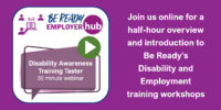 Promotional image for the Taster webinar for Be Ready's training courses